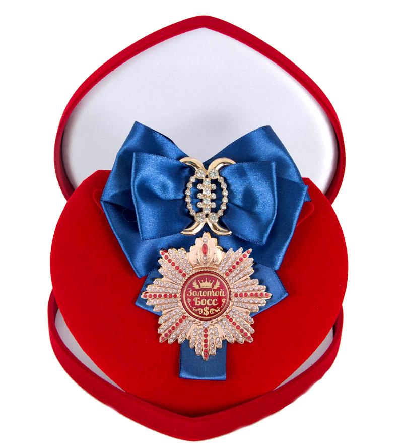 Большой Орден Золотой босс синяя лента010120011/2Хороший памятный подарок - большой подарочный орден на атласной ленте, упакованный в изящный футляр.