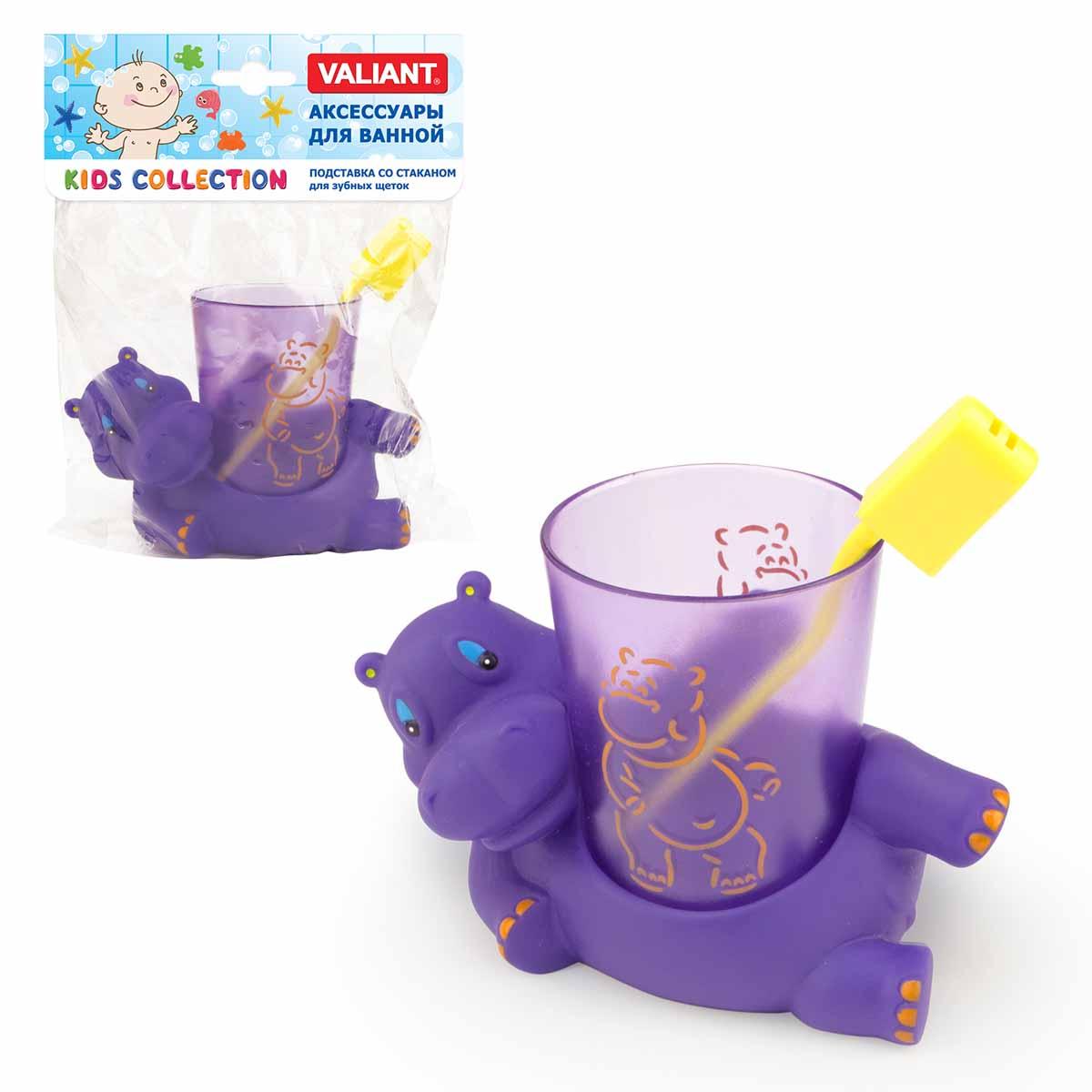 Valiant KC-H-TH Подставка со стаканом для зубных щеток БЕГЕМОТИКИ