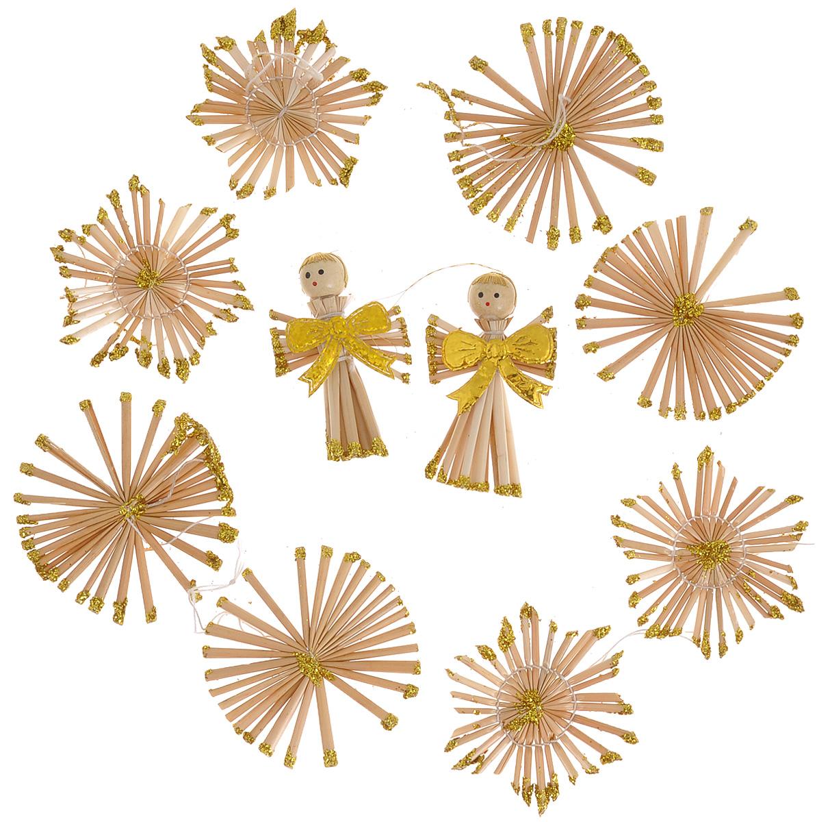 Набор новогодних подвесных украшений Феникс-презент Ангелы с бантами, цвет: желтый, светло-коричневый, 10 шт38199Набор Феникс-презент Ангелы с бантами, состоящий из 10 новогодних подвесных украшений, отлично подойдет для декорации вашего дома и новогодней ели. Изделия выполнены из соломы в виде снежинок и ангелов, оформленных блестками и бантиками. Украшения имеют специальные петельки для подвешивания. Коллекция декоративных украшений Феникс-презент Ангелы с бантами принесет в ваш дом ни с чем не сравнимое ощущение праздника! Средний размер украшения: 5,5 см х 5,5 см.