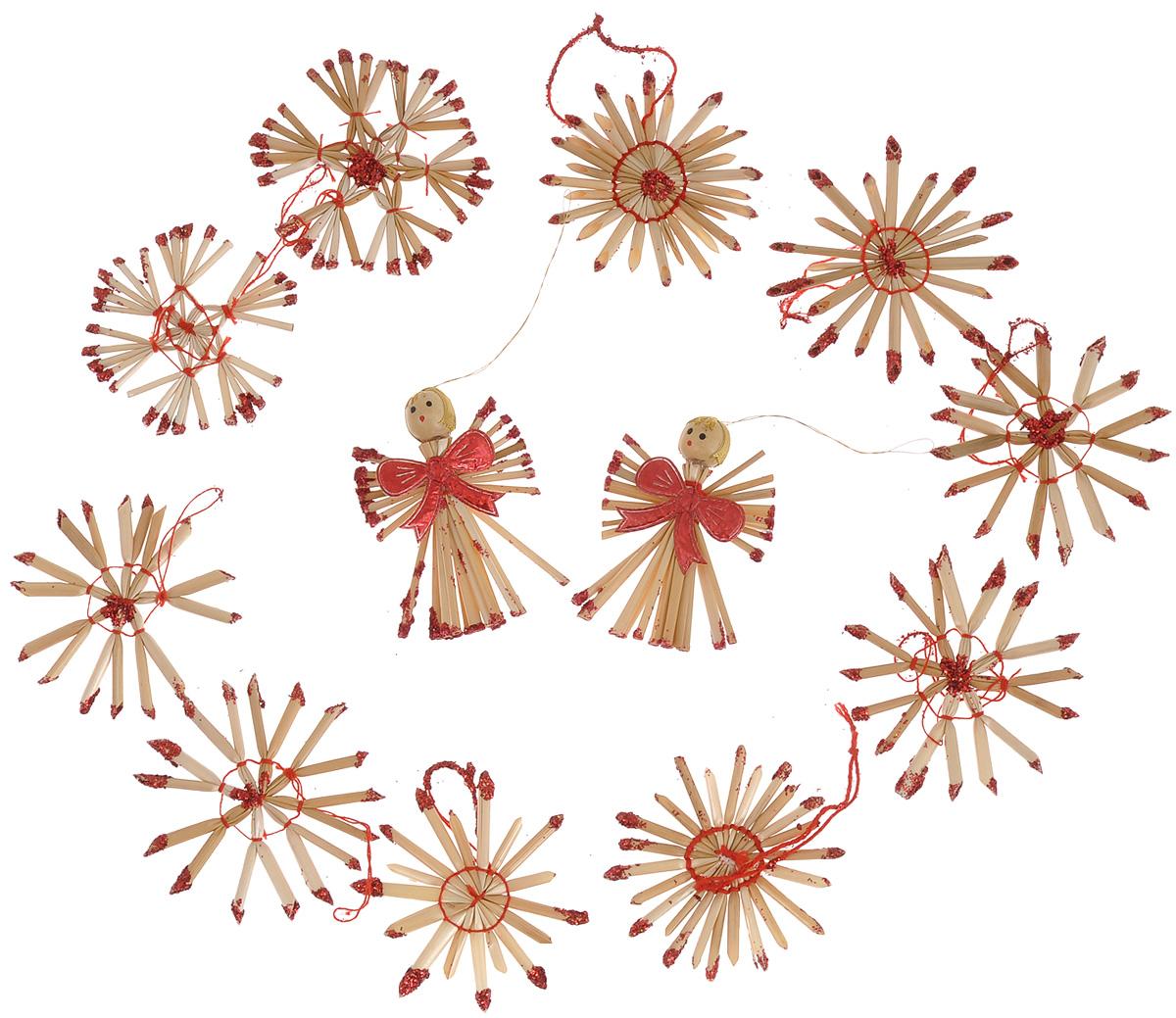 Набор новогодних подвесных украшений Феникс-презент Ангелы и звезды, цвет: красный, светло-коричневый, 12 шт38201Набор Феникс-презент Ангелы и звезды, состоящий из 12 новогодних подвесных украшений, отлично подойдет для декорации вашего дома и новогодней ели. Изделия выполнены из соломы в виде снежинок и ангелочков, оформленных блестками и бантиками. Украшения имеют специальные петельки для подвешивания. Коллекция декоративных украшений Феникс-презент Ангелы и звезды принесет в ваш дом ни с чем не сравнимое ощущение праздника! Средний размер украшения: 6 см х 6 см.