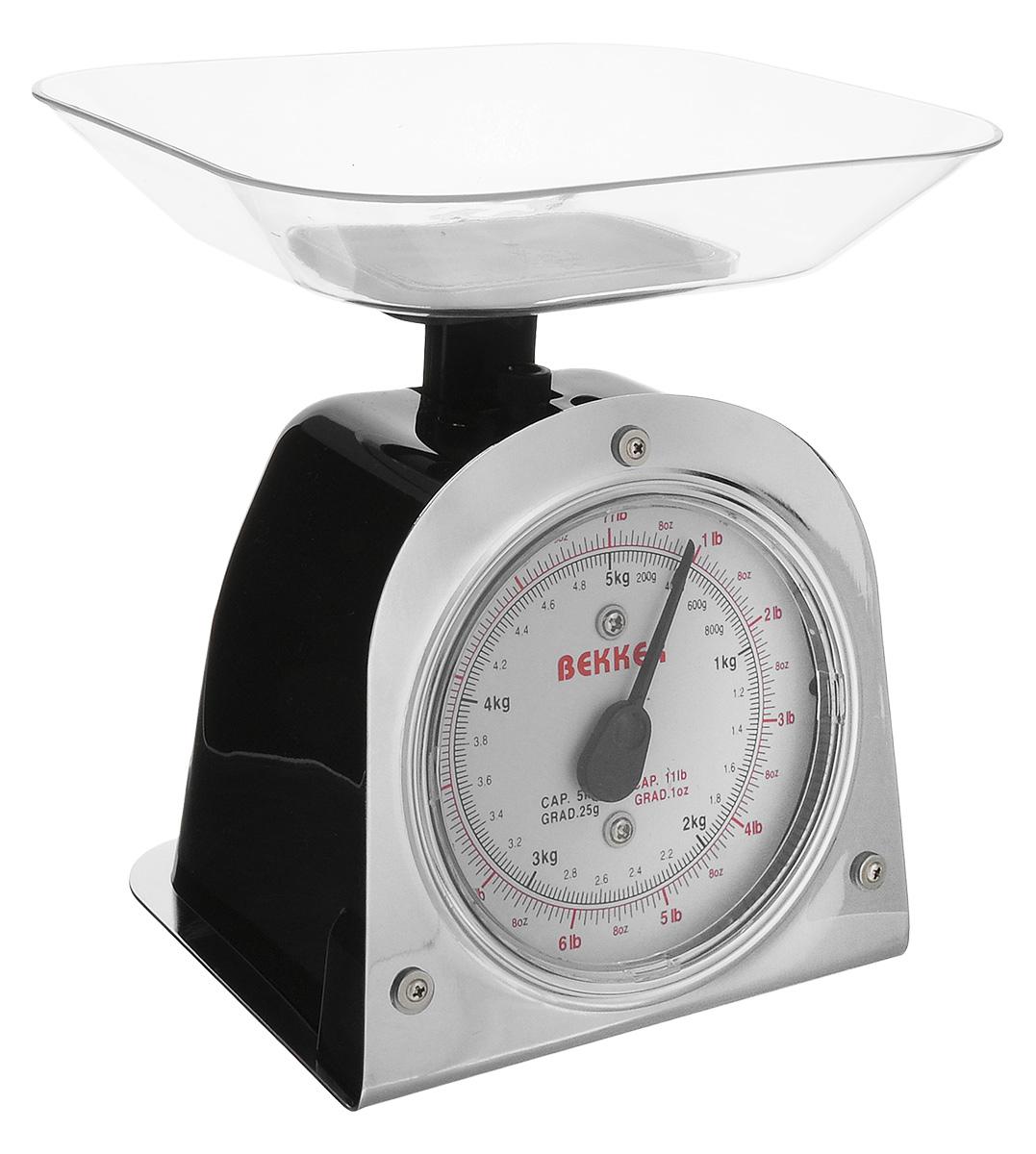 Весы кухонные Bekker Koch, цвет: черный, серебристый, до 5 кгBK-2_черныйВесы кухонные Bekker Koch предназначены для взвешивания продуктов. Основание весов изготовлено из металла, а корпус из высококачественного пластика. Весы имеют регулятор мерной шкалы и съемную чашу, изготовленную из пластика. Весы выдерживают до 5 килограмм веса. Кухонные весы Bekker Koch придутся по душе каждой хозяйке и станут незаменимым аксессуаром на кухне. Размер весов (с учетом чаши): 13,5 см х 12 см х 19 см. Цена деления: 25 г. Максимальная нагрузка: 5 кг. Размер съемной чаши: 17,8 см х 15 см х 3,5 см.