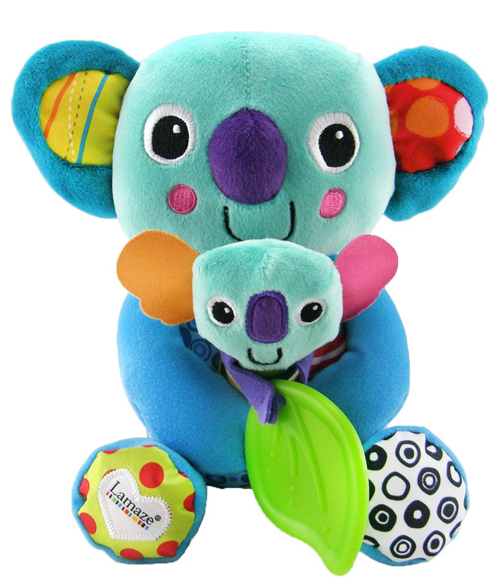 Lamaze Мягкая развивающая игрушка Веселые коалы, 20 смLC27162RUМягкая развивающая игрушка Lamaze Веселые коалы - это удивительная развивающая игрушка, выполненная в виде мамы-коалы, у которой на ручках сидит малыш, держащий в лапках листик эвкалипта. Необычный насыщенный колорит и сочетание контрастных цветов сразу же привлекут внимание крохи. Коалы такие дружелюбные и уютные, что их сразу хочется взять на ручки, потрогать и погладить. Ножки и ушки мамы-коалы приятно шелестят при надавливании. Игрушка изготовлена из абсолютно безвредных материалов, рекомендована малышам с 6 месяцев. Мягкая развивающая игрушка Lamaze Веселые коалы способствует развитию первичных навыков внимательности, наблюдательности, мелкой моторики, повышению коэффициента эмоциональности (вызывает улыбку и смех) и познания в целом, вырабатывает у малыша реакцию на звук.