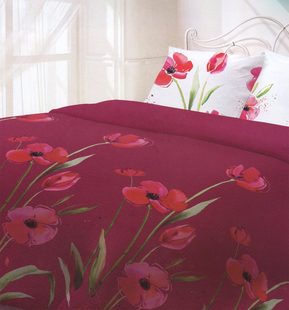 Комплект белья Гармония Маки, 2-спальный, наволочки 50x70, цвет: бордовый, белый, розовый190822Комплект постельного белья Гармония Маки является экологически безопасным для всей семьи, так как выполнен из поплина (натурального хлопка). Комплект состоит из пододеяльника, простыни и двух наволочек. Постельное белье оформлено оригинальным рисунком и имеет изысканный внешний вид. Гармония производится из поплина - 100% хлопковой ткани. Поплин мягкий и приятный на ощупь. Кроме того, эта ткань не требует особого ухода, легко стирается и прекрасно держит форму. Высококачественные красители, которые используются при производстве постельного белья, экологичны и сохраняют свой цвет даже после многочисленных стирок. Благодаря высокому качеству ткани и европейским стандартам пошива постельное белье Гармония будет радовать вас долгие годы!