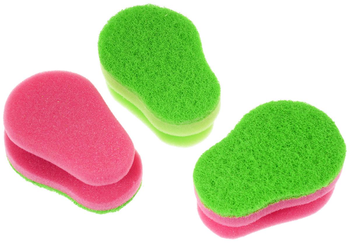 Набор губок для мытья посуды Aqualine, цвет: зеленый, розовый, 3 шт1127_зеленый, розовыйНабор Aqualine состоит из трех эргономичных губок, предназначенных для мытья посуды из тефлона, стекла, фарфора, хрусталя, полированной стали, стеклокерамики. Губки отлично удаляют жир, грязь и пригоревшую пищу, не царапая посуду. Жесткая сторона губки не содержит абразива, чистит основательно и бережно, хорошо впитывает жидкость. Губки позволяют расходовать минимальное количество чистящих средств. Специальные пазы для пальцев по краям губок защитят ваши руки во время мытья посуды. Размер губки: 10 см х 4,2 см х 7 см.
