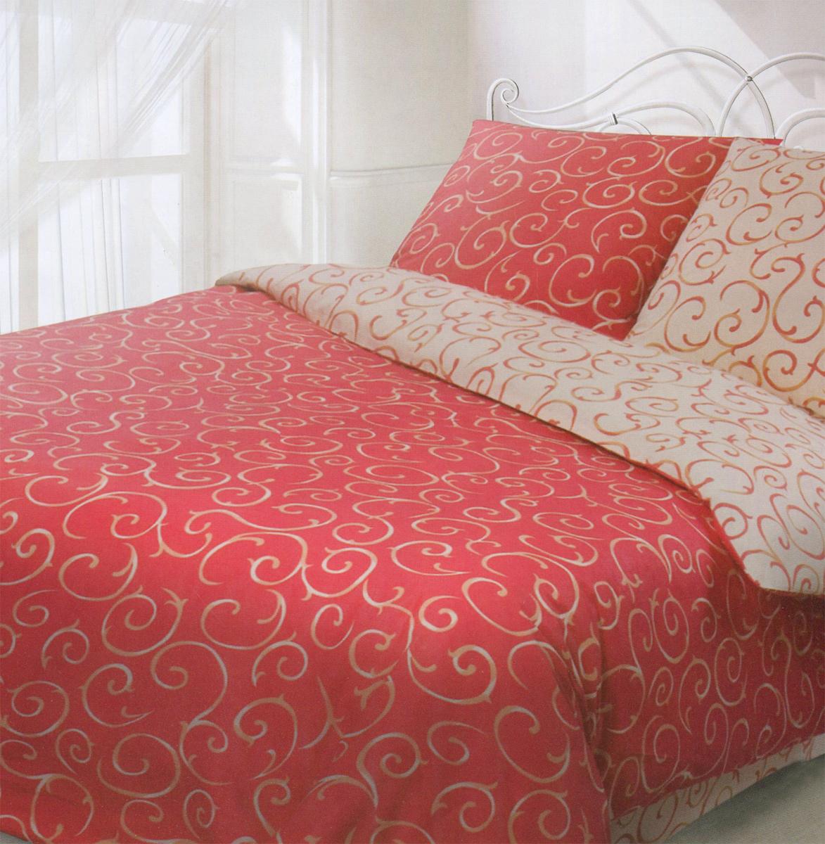 Комплект белья Гармония Барокко, евро, наволочки 70x70, цвет: красный, бежевый190815Комплект постельного белья Гармония Барокко является экологически безопасным, так как выполнен из поплина (100% хлопок). Комплект состоит из пододеяльника, простыни и двух наволочек. Постельное белье оформлено оригинальным орнаментом и имеет изысканный внешний вид. Постельное белье Гармония - лучший выбор для современной хозяйки! Его отличают демократичная цена и отличное качество. Гармония производится из поплина - 100% хлопковой ткани. Поплин мягкий и приятный на ощупь. Кроме того, эта ткань не требует особого ухода, легко стирается и прекрасно держит форму. Высококачественные красители, которые используются при производстве постельного белья, экологичны и сохраняют свой цвет даже после многочисленных стирок. Благодаря высокому качеству ткани и европейским стандартам пошива постельное белье Гармония будет радовать вас долгие годы!