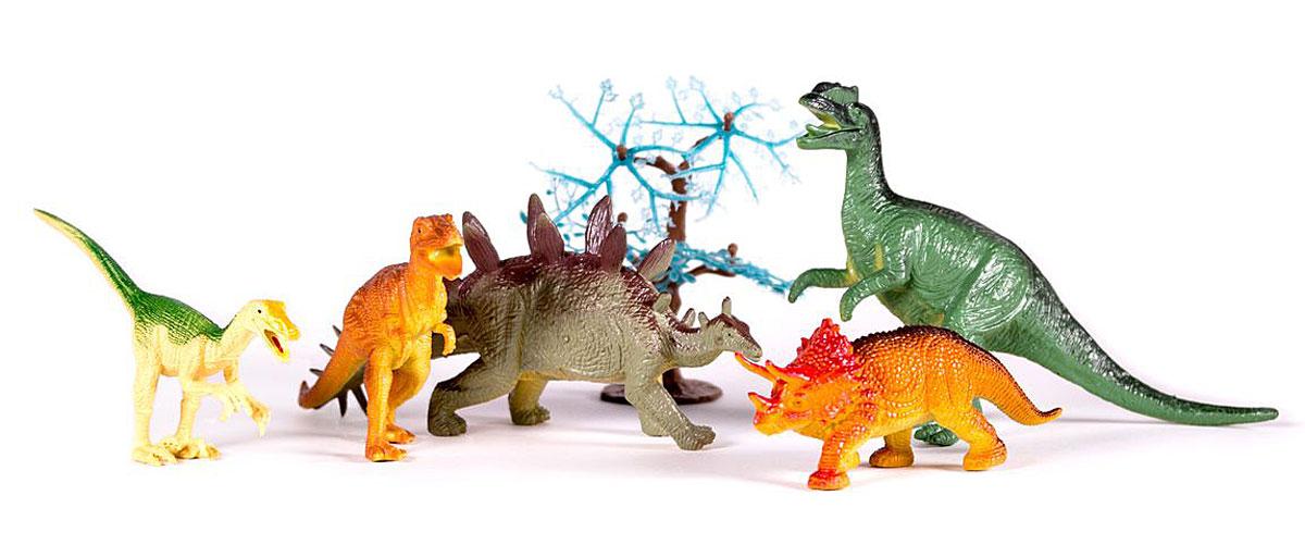 Megasaurs Набор фигурок Динозавры цвет желтый коричневый серый 5 штSV10690В набор Динозавры входят 5 различных фигурок, с которыми можно разыграть разнообразные интересные сюжеты, связанные с периодом динозавров. Фигурки динозавров являются копей доисторических ящеров, которые непременно впечатлят вашего ребенка своим правдоподобным видом. Фигурки динозавров и дерево изготовлены из высококачественных нетоксичных материалов, абсолютно безопасных для вашего малыша. Тема эпохи динозавров никогда не останется в прошлом! Каждый ребенок, так или иначе, интересовался этим доисторическим миром и мечтал о своем собственном динозавре. Удивительные фигурки динозавров HGL с высокой детализацией и тщательной проработкой элементов не оставят равнодушным ни одного ребенка. Игрушки выполнены из качественного и прочного пластика. Краска, которая нанесена на фигурку, абсолютно безопасна. Они не боятся влаги, поэтому станут прекрасным вариантом для игры в воде! Ваш ребенок часами будет играть с такими игрушками, придумывая различные истории.