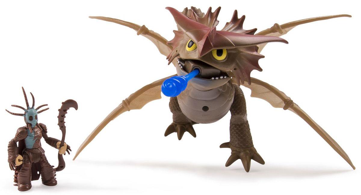 Dragons Фигурка Дракон и всадник66601_20068598Фигурка Dragons непременно придется по душе вашему ребенку. Игрушка выполнена в виде дракона из популярного мультфильма Как приручить дракона. Подвижные крылья дракона сложены, когда он сидит и раскладываются для полета. Длина расправленного крыла 16 см. Дракон может стрелять зарядом, вылетающим из его пасти. Вместе с драконом имеется фигурка всадника с оружием. С драконом можно организовать настоящее сражение, ведь эти умелые бойцы снабжены всем необходимым для настоящей схватки с противником! Благодаря фигурке Dragons Timberjack ваш ребенок с удовольствием будет проигрывать любимые сцены из мультфильма или придумывать свои истории! Дизайн фигурок полностью повторяет внешний вид любимых персонажей мультфильма. Собери всю коллекцию героев и придумывай собственные приключения отважных викингов и их великолепных питомцев!