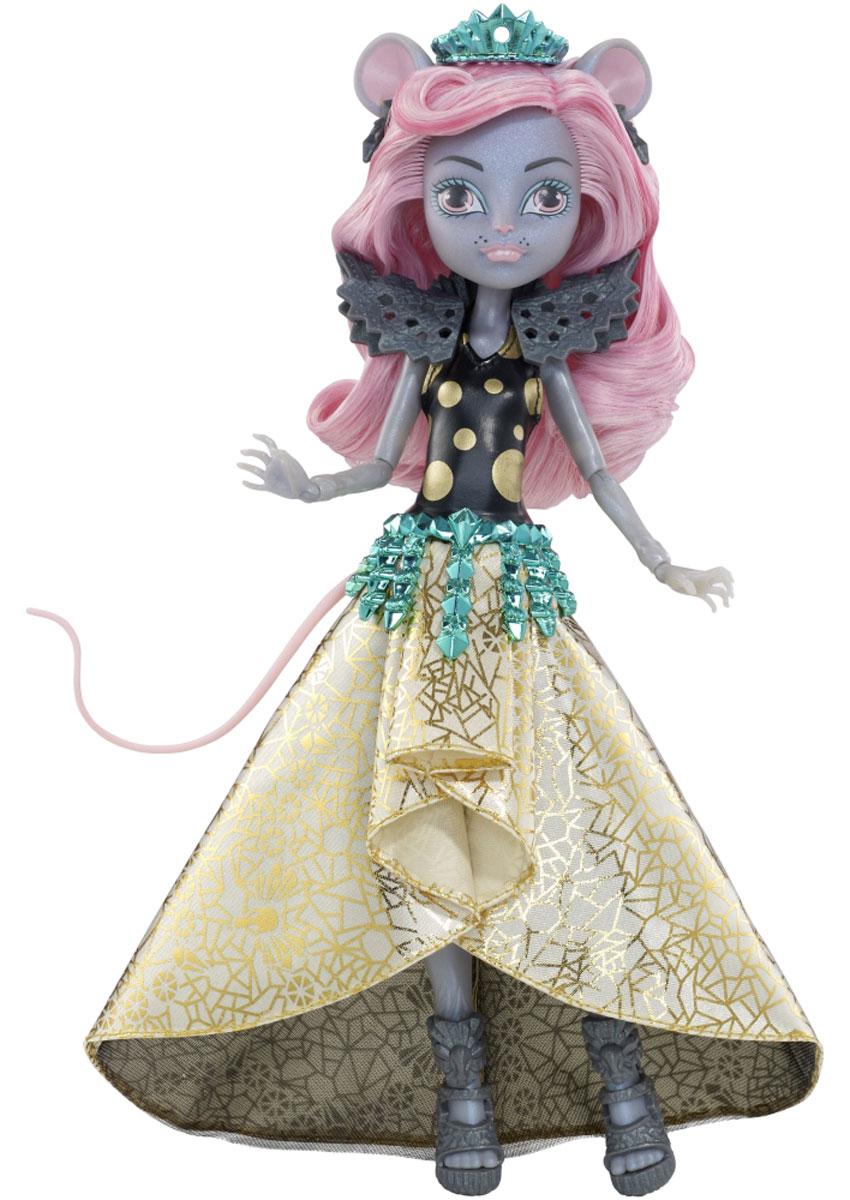 Monster High Кукла Мауседес КингCHW64_CHW61Ученики школы Monster High отправляются в Boo York на празднование в честь Кристальной Кометы. Там они встречают новых друзей, которые пытаются найти себя в большом городе. Мауседес Кинг - дочь Крысиного короля - надела на торжественное мероприятие свой самый эффектный наряд: лиф в крупный золотистый горошек, клиновидную юбку с золотой отделкой и ярко-синюю тиару. Ее мышиные ушки, хвостик и бархатная шерстка смотрятся просто чудовищно прекрасно, а подставка и расческа помогут ей выглядеть безупречно на снимках. В комплект с куклой также входит подставка, расческа и дневник с подробностями из жизни персонажей мультфильма, который сделает игру с ней еще увлекательнее. Руки и ноги куклы шарнирные, это позволяет придать ей разнообразные позы. Порадуйте поклонницу Монстер Хай удивительной новинкой в мире Школы Монстров, подарив ей куколку из серии Boo York.