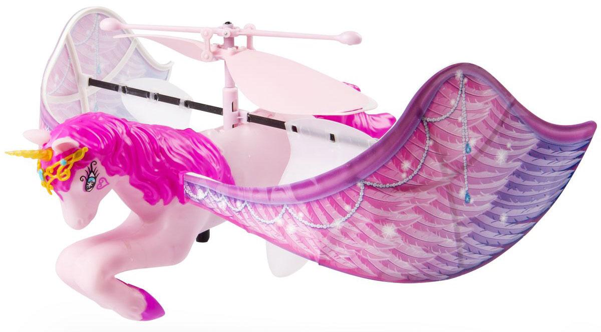 Flying Fairy Игрушка Летающий единорог35805Игрушка Летающий единорог приведет в восторг вашу малышку, ведь это лошадка, которая действительно летает! Игрушка, выполненная из пластика, представляет собой милую розовую лошадку-единорога с огромными крыльями. В комплект с единорогом входит специальная подставка для него. Перед полетом игрушку необходимо заряжать в течение 30 минут от подставки на батарейках. Можно просто наблюдать за полетом игрушки или управлять им с помощью рук. Порадуйте свою малышку таким волшебным подарком! Для работы требуются 6 батареек типа АА (не входят в комплект).