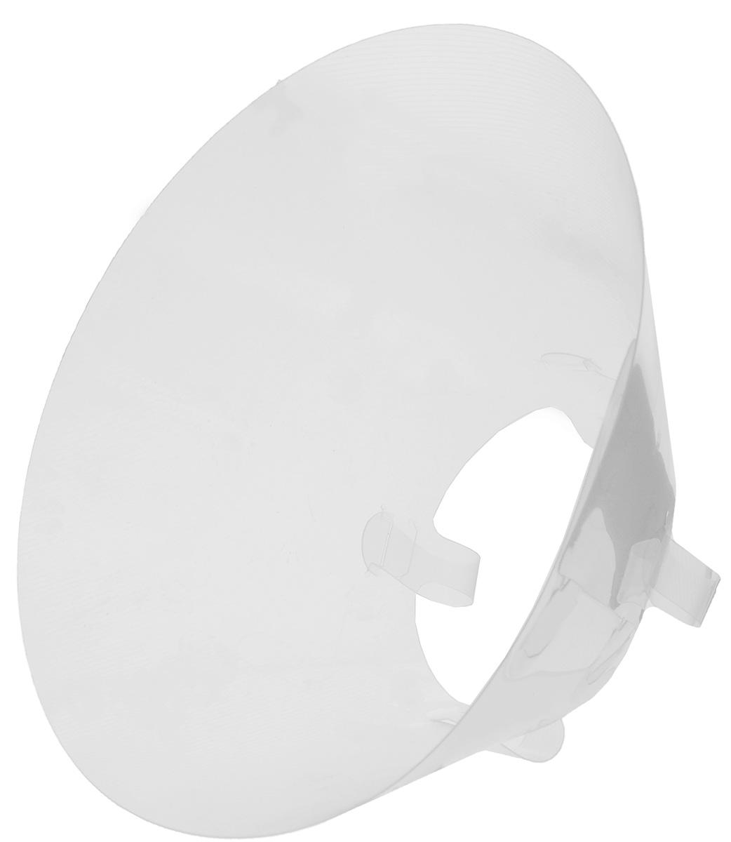Защитный воротник для животных Kruuse Buster, высота 25 см. 1408414084Защитный воротник Kruuse Buster изготовлен из высококачественного нетоксичного пластика, который позволяет сохранять углы обзора для животного. Изделие разработано для ограничения доступа собаки к заживающей ране или послеоперационному шву. Простота в эксплуатации позволяет хозяевам самостоятельно одевать и снимать защитный воротник с собаки. Подходит для собак крупных пород. Обхват шеи: 14-16 см. Высота воротника: 25 см.