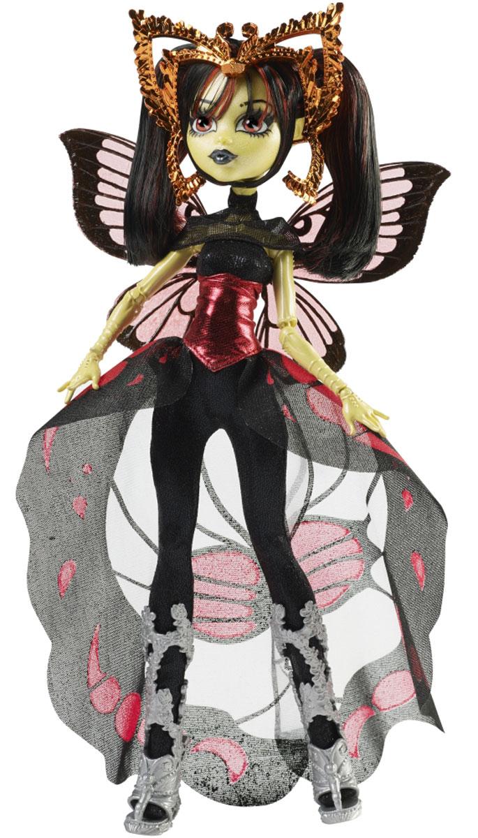 Monster High Кукла Луна МотьюзCHW64_CHW62Ученики школы Monster High отправляются в Boo York на празднование в честь Кристальной Кометы. Там они встречают новых друзей, которые пытаются найти себя в большом городе. Луна Мотьюз, дочь Человека-Мотылька, надела на торжественное мероприятие свой самый стильный наряд и неземные аксессуары. Она блистает в готическом платье, удачно дополненном ее очаровательными крылышками и ободком с усиками, а подставка и расческа помогут ей выглядеть безупречно на снимках. В комплекте: подставка, расческа и дневник с подробностями из жизни персонажей мультфильма, который сделает игру с куклой еще увлекательнее. . Руки и ноги куклы шарнирные, это позволяет придать ей разнообразные позы. Порадуйте поклонницу Монстер Хай удивительной новинкой в мире Школы Монстров, подарив ей куколку из серии Boo York.