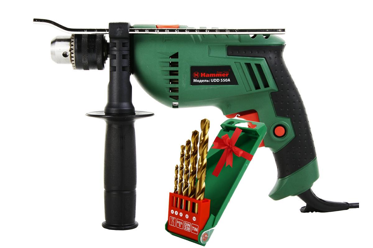 Набор дрель ударная Hammer UDD550A + набор сверел Hammerflex ( 230246 )