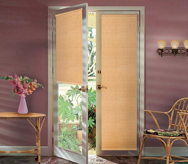 Штора рулонная Миниролло на балконную дверь, 52х215см, тканевые, цвет: светлый абрикос93052112