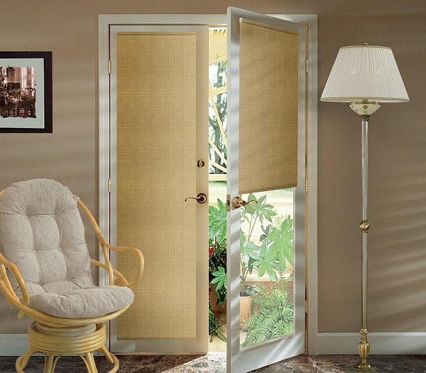 Штора рулонная Миниролло на балконную дверь, 52х215см, тканевые, цвет: темно-бежевый93052209