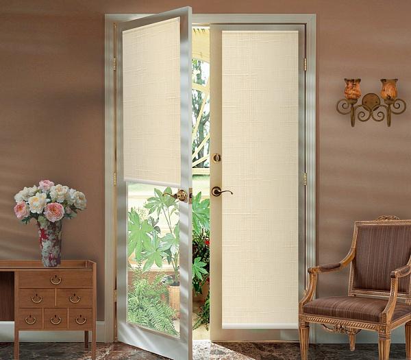 Штора рулонная Миниролло на балконную дверь, 52х215см, тканевые, цвет: бежевый лен93052409