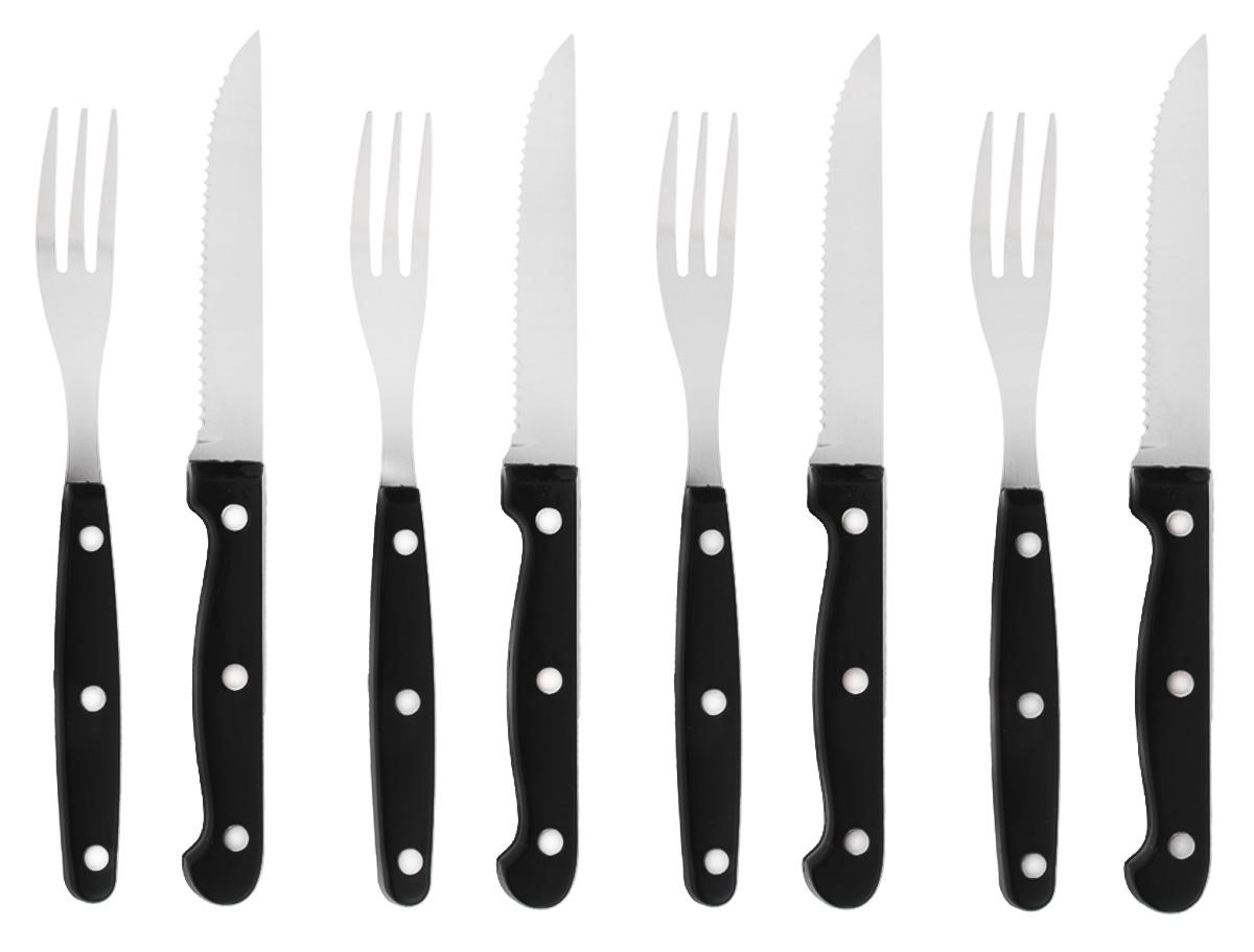 Набор столовых приборов Sagaform, 8 предметов5016468Набор столовых приборов Sagaform отлично подойдет для сервировки мясных блюд. В комплект входит 4 вилки и 4 зазубренных ножа. Изделия выполнены из высококачественной нержавеющей стали и оснащены удобными пластиковыми ручками. Оригинальный дизайн и подарочная упаковка сделают набор Sagaform желанным подарком! Длина вилок: 19,5 см. Длина ножей: 22 см. Длина лезвий ножей: 11,5 см.