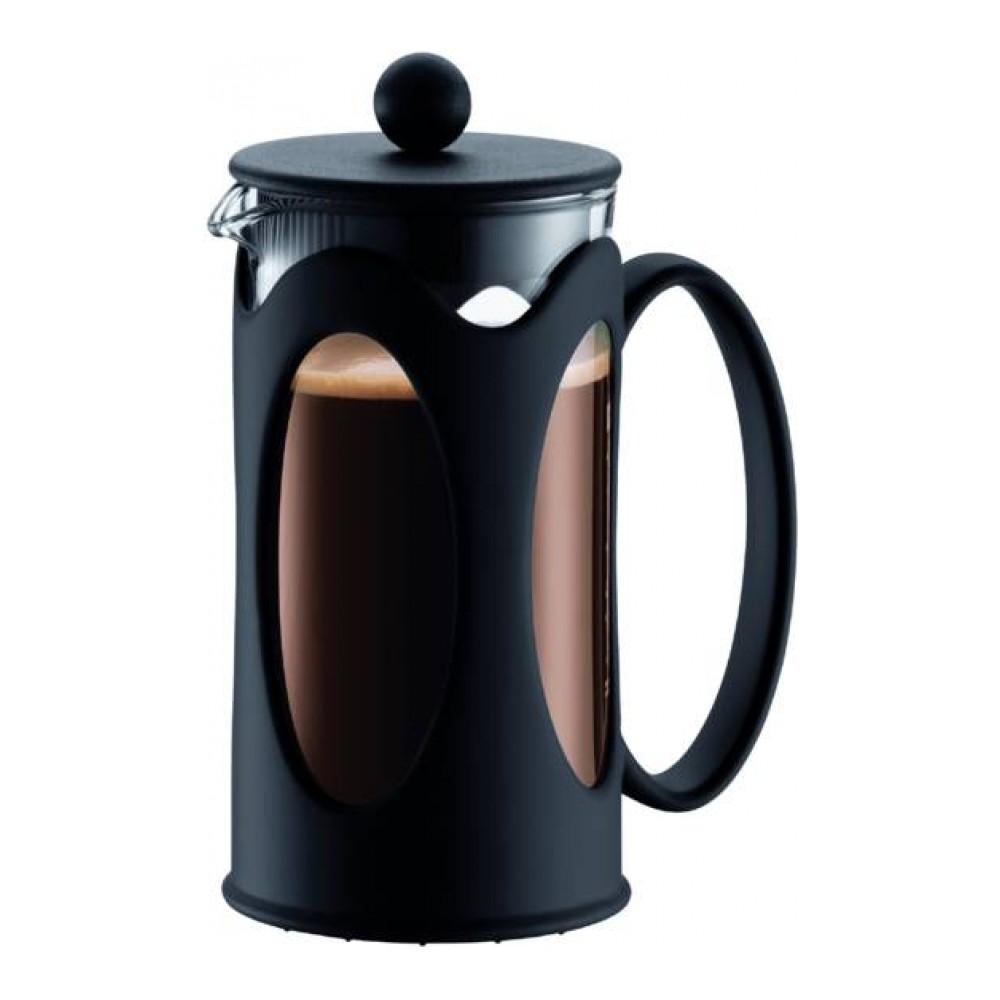 Кофейник Bodum Kenya, с прессом, цвет: черный, 350 мл10682-01Кофейник Bodum Kenya, колба которого изготовлена из прочного стекла и помещена в металлическую оправу, займет достойное место на вашей кухне. Пластиковая оправа эффективно защищает стекло. Кофейник оснащен фильтром french press из нержавеющей стали и удобной ручкой. Налить кофе в чашку можно, нажав рычаг на кофейнике. Современный дизайн кофейника Bodum Kenya идеально впишется в любой интерьер.