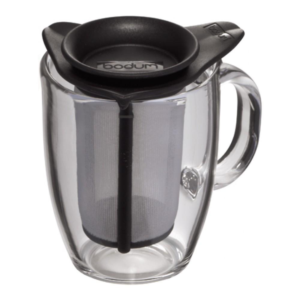 Кружка Bodum YO-YO, с фильтром, цвет: черный, 350 млK11239-01Такая кружка с фильтром невероятно удобна для заваривания чая, а также лечебных трав. Благодаря съемному фильтру, напиток останется чистым.