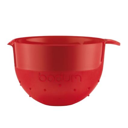 Миска Bodum Bistro, цвет: красный, 2,8 л11563-294BМиска Bodum Bistro изготовлена из пластика - легкого материала, который без усилий очищается и быстро сохнет. Вы сможете использовать ее для замешивания теста, приготовления салата, мытья овощей и многих других кулинарных нужд. Миска оснащена носиком и ручкой. Также она имеет дополнительный слой резины на ручке и на нижней поверхности, благодаря чему не скользит по поверхности стола. Миску можно помещать в микроволновую печь и мыть в посудомоечной машине. Диаметр миски (по верхнему краю): 20,5 см. Высота стенок: 14,5 см. Объем: 2,8 л.
