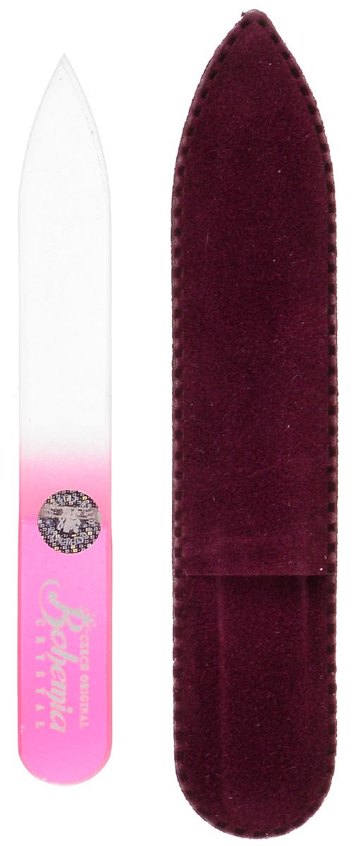 Пилочка для ногтей Bohemia, стеклянная, чехол из замши. 0902, цвет:розовый233cz-0902вм_розовыйСтеклянная пилочка Bohemia подходит как для натуральных, так и для искусственных ногтей. После пользования стеклянной пилочкой ногти не слоятся и не ломаются. Эта пилочка прекрасно шлифует и придает форму ногтям. При уходе за накладными ногтями рекомендуем пилочку во время работы периодически смачивать в воде. К пилочке прилагается чехол из замши.