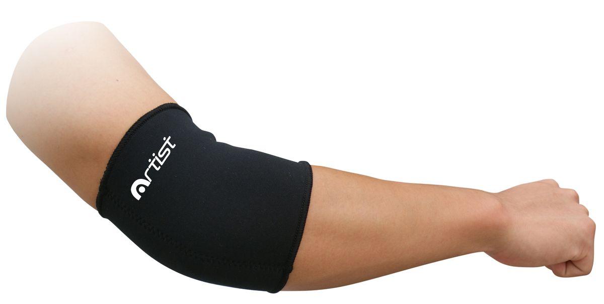 Суппорт локтевой Artist, цвет: черный, размер L (24,5-27,5 см)5151NS р-р LСуппорт локтевой Artist предназначен для защиты мышц от растяжений во время занятий спортом. Неопреновый суппорт локтя обеспечивает мягкую поддержку и сохраняет тепло. Также выполняет профилактику травм связок при занятиях спортом и выполнении работ, связанных с физической нагрузкой. Незаменимы суппорты в период восстановления после травм. Суппорты способствуют облегчению боли в мышцах и суставах, ограничивают излишнюю подвижность сустава при небольших повреждениях. Преимущества: Обеспечивает мягкую, но надежную поддержку и компрессию ослабленных мышц, не ограничивая при этом подвижность и не препятствуя нормальной циркуляции крови; Способствует уменьшению отеков, снятию усталости и напряженности мышц, помогает ослабить болевые ощущения; Для дополнительного удобства суппорт имеет анатомическую форму и плоские швы. Изготовлен из легкого, дышащего материала, что позволяет носить суппорт в течение длительного времени. ...
