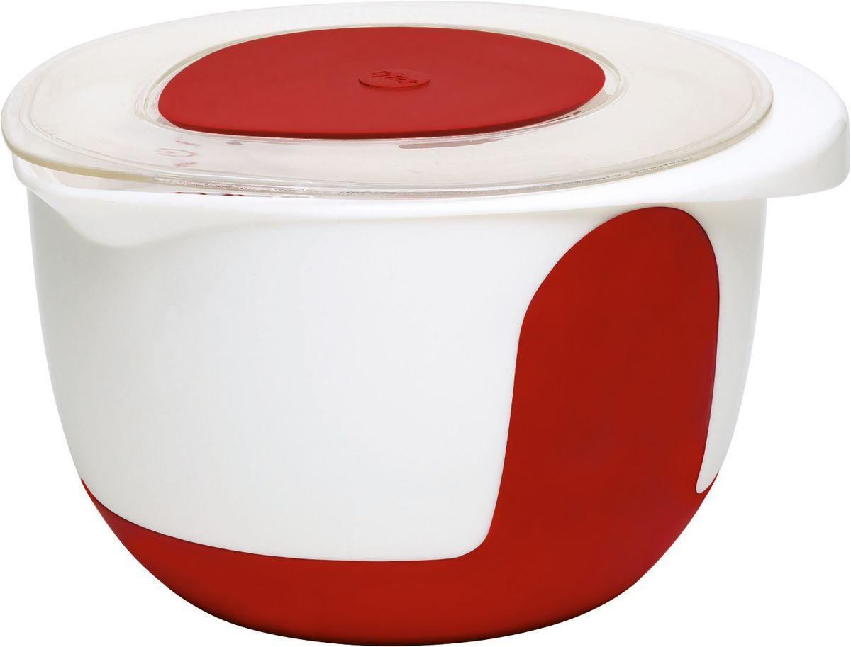 Миска для смешивания Emsa Mix&Bake, с крышкой, 3 л508019Миска для смешивания Emsa Mix&Bake изготовлена из высококачественного пищевого пластика. Изделие предназначено для смешивания и взбивания теста. Внешняя поверхность имеет нескользящее силиконовое покрытие, которое удерживает миску на одном месте и обеспечивает устойчивость даже при наклоне. Миска снабжена удобным носиком и ручкой. Внутри имеется шкала литража. Изделие снабжено прозрачной крышкой со съемной вставкой, которая позволяет взбивать ингредиенты миксером прямо в миске и ничего не разбрызгать. Такая миска станет полезным приобретением для всех любителей домашней выпечки. Диаметр (по верхнему краю): 20,5 см. Высота миски: 14 см.