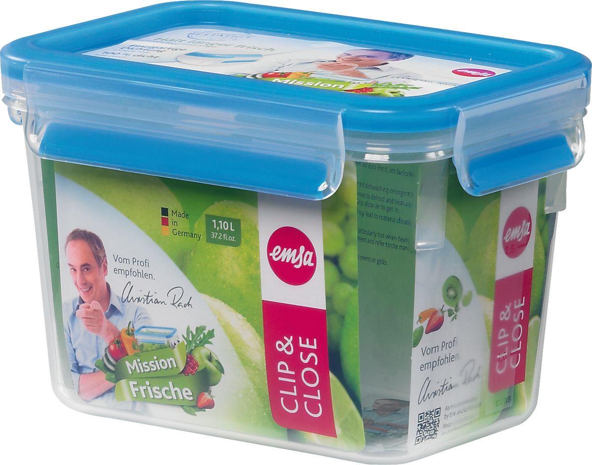 Контейнер прямоугольный Emsa Clip&Close, 1,1 л508541Контейнер для хранения продуктов Emsa Clip&Close изготовлен из высококачественного пищевого пластика. Изделие оснащено герметичной крышкой на защелках. При хранении или перевозке еды герметичность, гигиеничность и длительное сохранение свежести продуктов гарантированы на 100%. Перекладывать в сервировочную посуду больше не нужно: симпатичную пластиковую чашу можно смело ставить на стол. Подходит для приготовления и разогревания пищи в микроволновке, а также для заморозки. Можно мыть в посудомоечной машине.