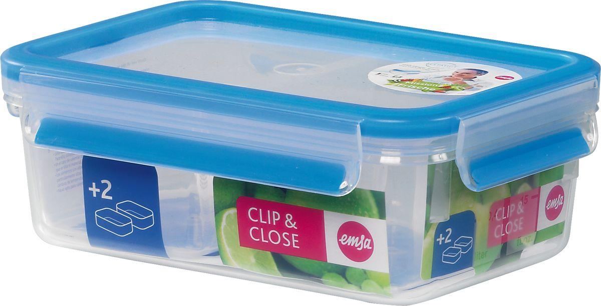 Контейнер пластиковый CLIP&CLOSE прямоугольный со вставками, объем - 1.0л512895