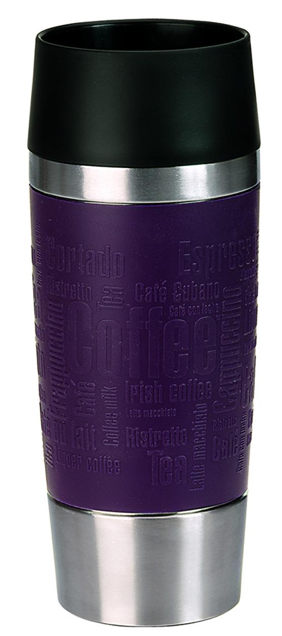 Термокружка Emsa Travel Mug, цвет: фиолетовый, стальной, 0,36 л513359Термокружка Emsa Travel Mug - это идеальный попутчик в дороге - не важно, по пути ли на работу, в школу или во время похода по магазинам. Вакуумная кружка на 100% герметична. Кружка имеет двустенную вакуумную колбу из нержавеющей стали, благодаря чему температура жидкости сохраняется долгое время. Кружку удобно держать благодаря покрытию Soft Touch из силикона. Изделие открывается нажатием кнопки. Пробка разбирается и превосходно моется. Дно кружки выполнено из силикона, что препятствует скольжению. Диаметр кружки по верхнему краю: 8 см. Диаметр дна кружки: 6,5 см. Высота кружки: 20,5 см. Сохранение холодной температуры: 8 ч. Сохранение горячей температуры: 4 ч.