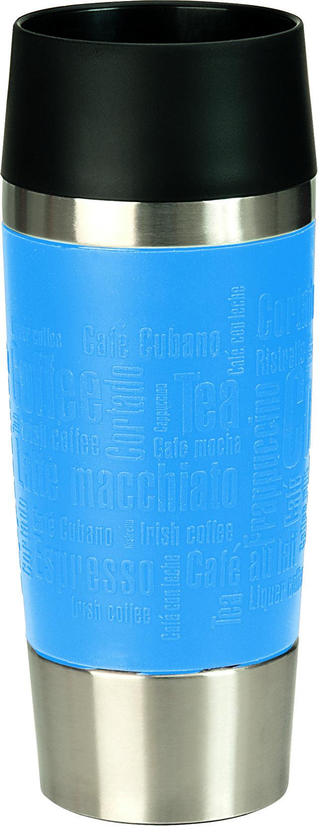 Термокружка Emsa Travel Mug, цвет: голубой, стальной, 0,36 л513552Термокружка Emsa Travel Mug - это идеальный попутчик в дороге - не важно, по пути ли на работу, в школу или во время похода по магазинам. Вакуумная кружка на 100% герметична. Кружка имеет двустенную вакуумную колбу из нержавеющей стали, благодаря чему температура жидкости сохраняется долгое время. Кружку удобно держать благодаря покрытию Soft Touch из силикона. Изделие открывается нажатием кнопки. Пробка разбирается и превосходно моется. Дно кружки выполнено из силикона, что препятствует скольжению. Диаметр кружки по верхнему краю: 8 см. Диаметр дна кружки: 6,5 см. Высота кружки: 20,5 см. Сохранение холодной температуры: 8 ч. Сохранение горячей температуры: 4 ч.
