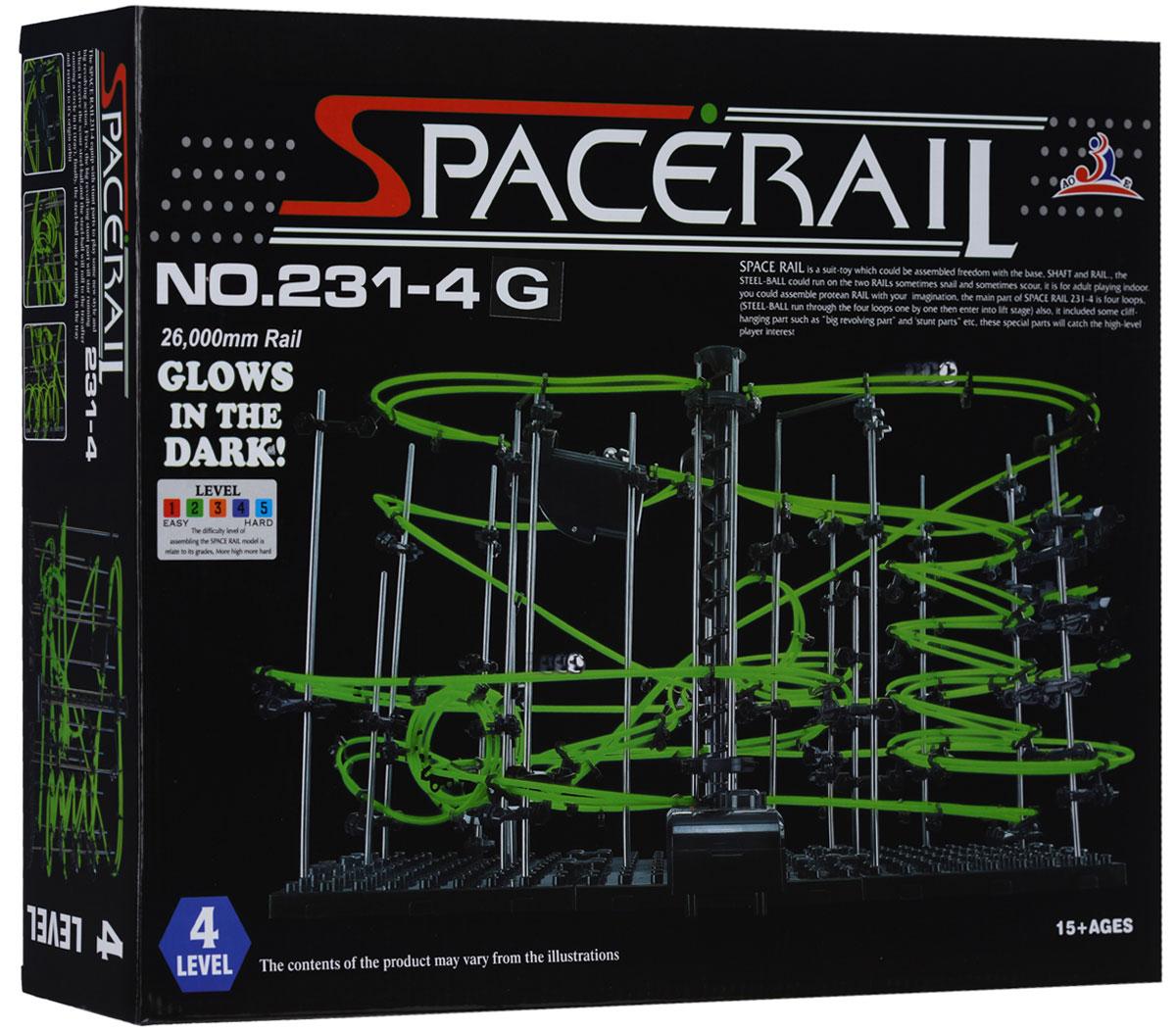 Space Rail Конструктор Glow In The Dark уровень 4231-4GКонструктор Space Rail Glow In The Dark - космическая трасса, представляет собой отличную пространственную головоломку, которая увлечет всю семью от мала до велика! Процесс сборки доставит удовольствие и детям, и родителям, а запуск космической трассы приведет всех в восторг. Вы сможете построить захватывающие дороги общей длиной до 26 метров и сами задать траектории, по которым стремительно будут проноситься металлические шарики. Удивительной особенностью конструкции является то, что рельсовое полотно светится в темноте мягким зеленым светом, делая модель еще более эффектной. Это интереснейший аттракцион, напоминающий американские горки, за которым можно наблюдать часами. Комплект включает элементы для сборки модели, 4 металлических шарика и схематичную инструкцию, которая позволит собрать конструкцию правильно и быстро. Сборка конструктора поможет ребенку развить пространственное мышление и фантазию. Собранная модель станет изюминкой вашего дома и привлечет внимание...