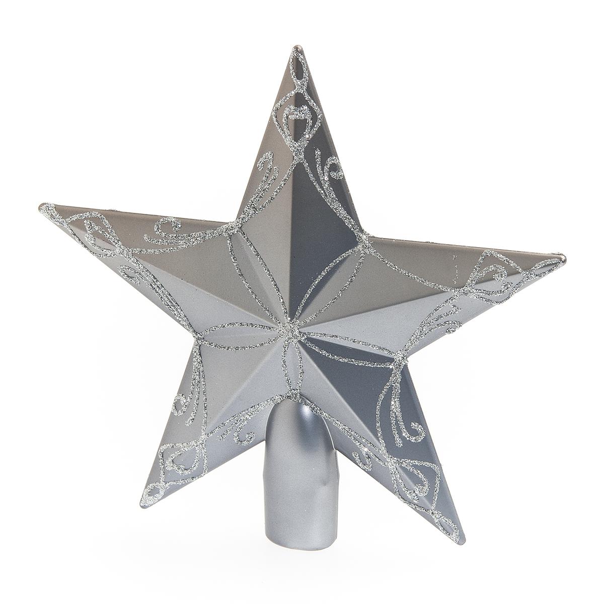 Верхушка на елку Lunten Ranta Кремлевская звезда, цвет: серый, серебристый, высота 20 см65503Верхушка на елку Lunten Ranta Кремлевская звезда прекрасно подойдет для декора новогодней елки. Изделие выполнено из высококачественного пластика в виде звезды и украшено красочным орнаментом. Такая верхушка преобразит вашу елку в преддверии праздника и создаст особое настроение новогоднего торжества. Изящество линий, уникальный дизайн - эта верхушка совершенно не похожа на классические новогодние украшения. Высота верхушки: 20 см. Диаметр основания: 2 см.