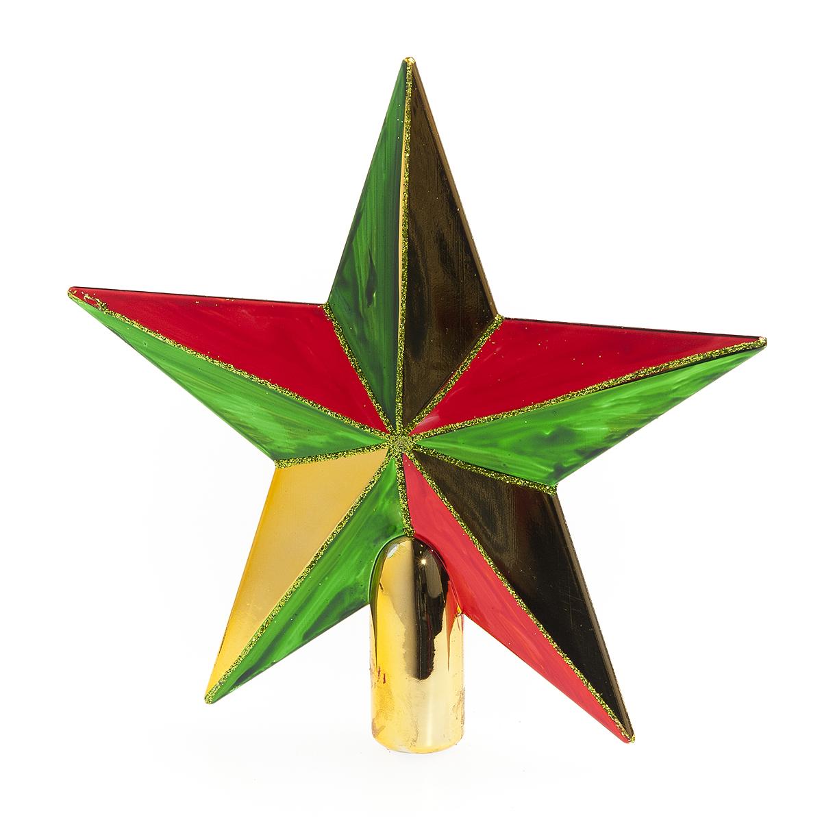 Верхушка на елку Lunten Ranta Яркая, цвет: золотистый, красный, зеленый, высота 20 см65504Верхушка на елку Lunten Ranta Яркая прекрасно подойдет для декора новогодней елки. Изделие выполнено из высококачественного пластика в виде звезды. Такая верхушка преобразит вашу елку в преддверии праздника и создаст особое настроение новогоднего торжества. Изящество, уникальный дизайн - эта верхушка совершенно не похожа на классические новогодние украшения. Высота верхушки: 20 см. Диаметр основания: 2 см.