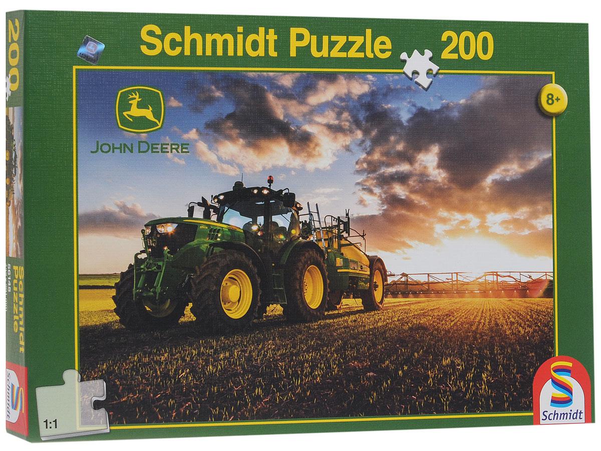 Schmidt Трактор John Deere 6150R. Пазл, 200 элементов56145Пазл Schmidt Трактор John Deere 6150R непременно придется вам по душе. Собрав этот пазл, включающий в себя 200 элементов, вы получите красочную картинку с изображением сельскохозяйственного трактора John Deere. Пазл - великолепная игра для семейного досуга. Сегодня собирание пазлов стало особенно популярным, главным образом, благодаря своей многообразной тематике, способной удовлетворить самый взыскательный вкус. А для детей это не только интересно, но и полезно. Собирание пазла развивает мелкую моторику рук у ребенка, тренирует наблюдательность, логическое мышление, знакомит с окружающим миром, с цветом и разнообразными формами.