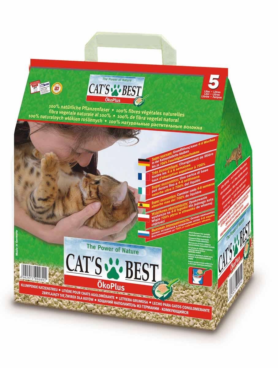 Cats Best Eko plus Наполнитель древесный комкующийся 5л*2,1кг