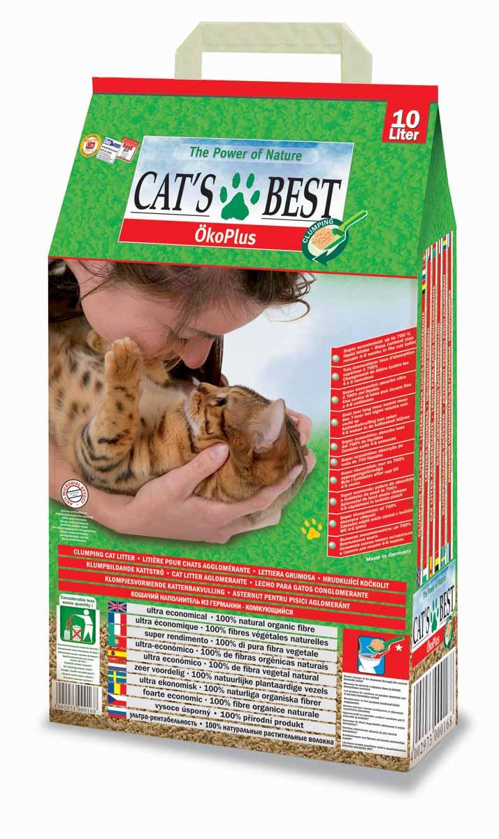 Cats Best Eko plus Наполнитель древесный комкующийся 10л*4,3кг