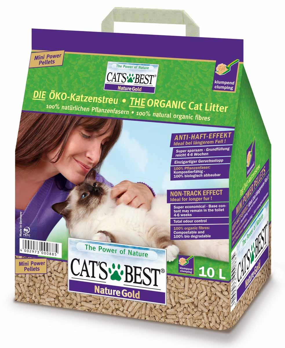 Cats Best Nature Gold Наполнитель древесный комкующийся 10л*5кг12108Древесный комкующийся наполнитель, который можно выбрасывать в унитаз. Обладает исключительным запахопоглащением и впитываемостью в 700%. Крупная гранула, не пристает к шерсти и меньше разносится из лотка
