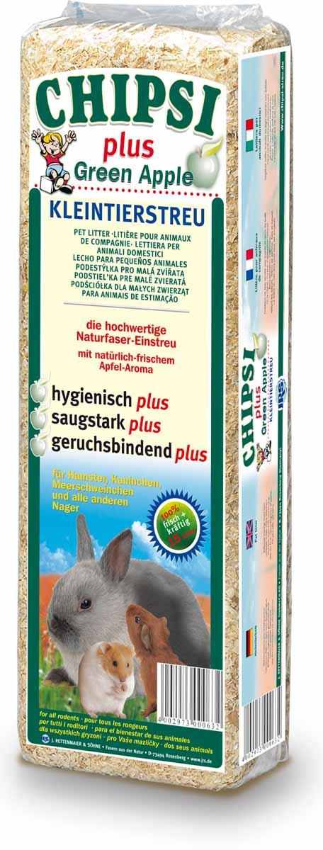 Cat's Best Chipsi Plus Green Apple Наполнитель древесный ароматизированный для грызунов 15л*1кг 12112