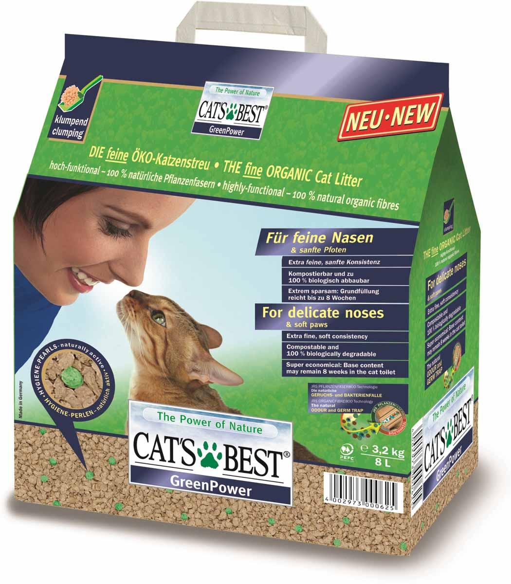 Cats Best Green Power Наполнитель древесный впитывающий 8л*3,2кг