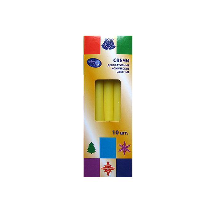 Свечи по 10 шт конические цветные, 25 см желтый54288_2Классические конические свечи наполнят ваш дом прятным светом и создадут уютную атмосферу. Превосходны в качестве подарка Вашим близким к любому празднику.