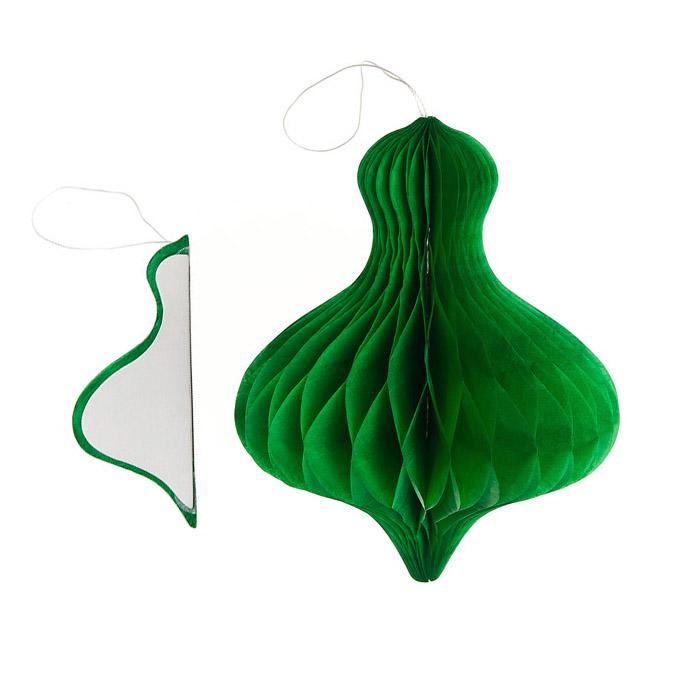 Декоративное украшение Lunten Ranta Праздничная луковица, цвет: зеленый, диаметр 11 см69457_2Декоративное подвесное украшение Lunten Ranta Праздничная луковица станет прекрасным и оригинальным украшением интерьера. Изделие представляет собой красивую объемную фигуру, выполненную из бумаги. Легко собирается и скрепляется с помощью двухстороннего скотча. Имеется петелька для подвешивания. Создайте в своем доме атмосферу веселья и радости, украшая его всей семьей новогодними украшениями, которые будут из года в год накапливать теплоту воспоминаний.