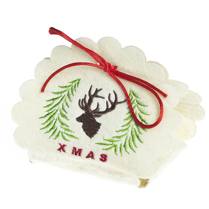 Декоративная корзинка Волшебный олень, цвет: белый, 11 см, фетр67789_2Оригинальная декоративная корзинка станет ярким подарком,украшением интерьера.