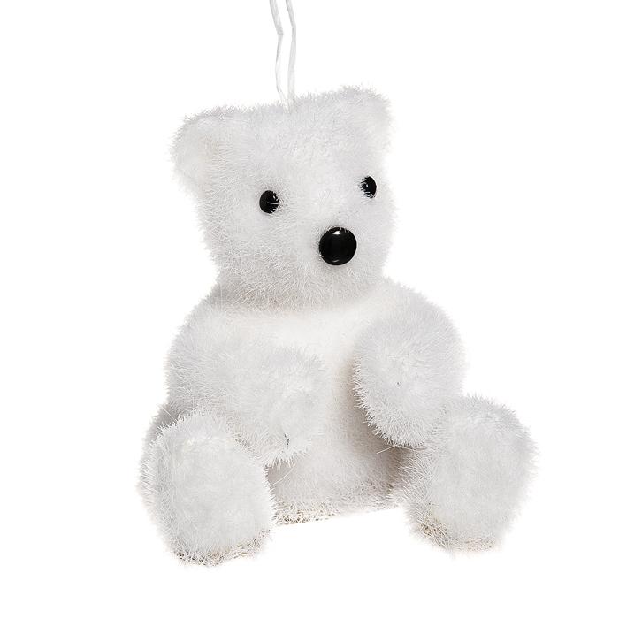 Новогоднее подвесное украшение Its a Happy Day Сидящий медвежонок, цвет: белый, 7 см х 7 см х 8,5 см68022Подвесное новогоднее украшение Its a Happy Day Сидящий медвежонок, выполненное из пенопласта и искусственного волокна, прекрасно подойдет для праздничного декора вашей ели. Изделие выполнено в виде забавного медвежонка, декорированного блестками. С помощью специальной петельки его можно повесить в любом понравившемся вам месте. Но удачнее всего такая игрушка будет смотреться на праздничной елке. Материал: пенопласт, искусственное волокно.