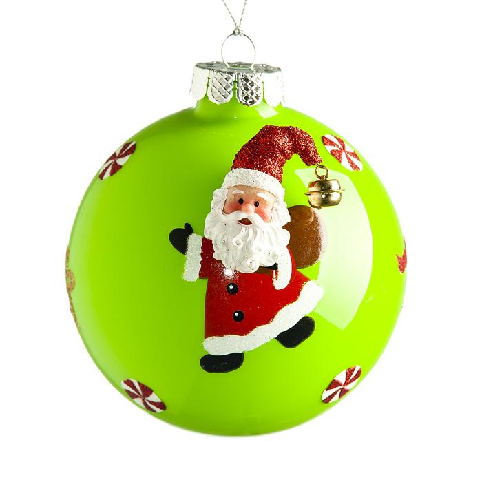 """Новогоднее подвесное украшение It's a Happy Day """"Дед Мороз с подарком"""", цвет: зеленый, диаметр 10 см 66525"""
