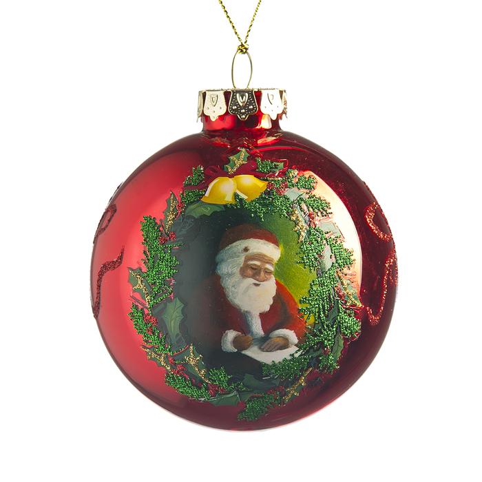 Новогоднее подвесное украшение Its a Happy Day Рождество, диаметр 8 см66489Подвесное украшение Its a Happy Day Рождество, выполненное из стекла, прекрасно подойдет для праздничного декора вашей ели. Оригинальное новогоднее украшение в виде шара оформлено изображением деда Мороза и блестками. С помощью специальной текстильной петельки его можно повесить в любом понравившемся вам месте. Но удачнее всего такая игрушка будет смотреться на праздничной елке. Елочная игрушка - символ Нового года и Рождества. Она несет в себе волшебство и красоту праздника. Создайте в своем доме атмосферу веселья и радости, украшая новогоднюю елку нарядными игрушками, которые будут из года в год накапливать теплоту воспоминаний.