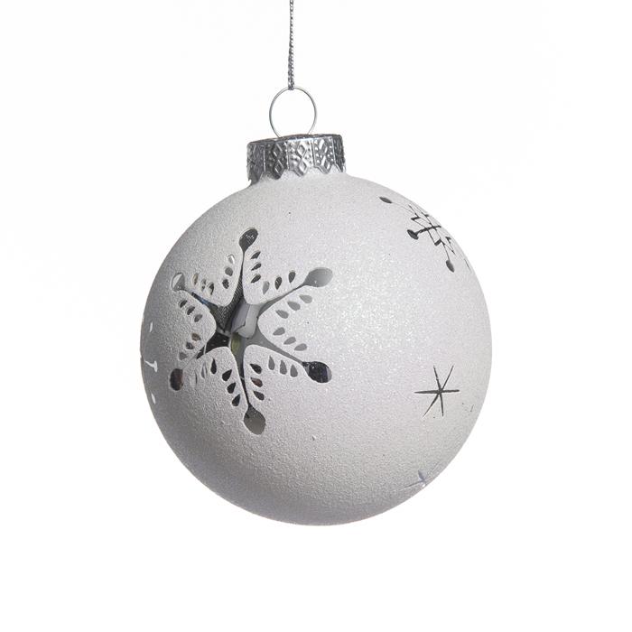 Новогоднее подвесное украшение Its a Happy Day Серебряные снежинки, диаметр 8 см67966Подвесное украшение Its a Happy Day Серебряные снежинки, выполненное из стекла, прекрасно подойдет для праздничного декора вашей ели. Оригинальное новогоднее украшение в виде шара оформлено изображением снежинок и блестками. С помощью специальной текстильной петельки его можно повесить в любом понравившемся вам месте. Но удачнее всего такая игрушка будет смотреться на праздничной елке. Елочная игрушка - символ Нового года и Рождества. Она несет в себе волшебство и красоту праздника. Создайте в своем доме атмосферу веселья и радости, украшая новогоднюю елку нарядными игрушками, которые будут из года в год накапливать теплоту воспоминаний.