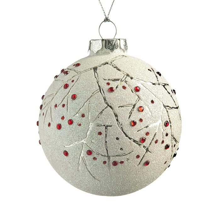 Новогоднее подвесное украшение Its a Happy Day Ветка, диаметр 8 см66505Подвесное украшение Its a Happy Day Ветка, выполненное из стекла, прекрасно подойдет для праздничного декора вашей ели. Оригинальное новогоднее украшение в виде шара оформлено стразами и блестками. С помощью специальной текстильной петельки его можно повесить в любом понравившемся вам месте. Но удачнее всего такая игрушка будет смотреться на праздничной елке. Елочная игрушка - символ Нового года и Рождества. Она несет в себе волшебство и красоту праздника. Создайте в своем доме атмосферу веселья и радости, украшая новогоднюю елку нарядными игрушками, которые будут из года в год накапливать теплоту воспоминаний.