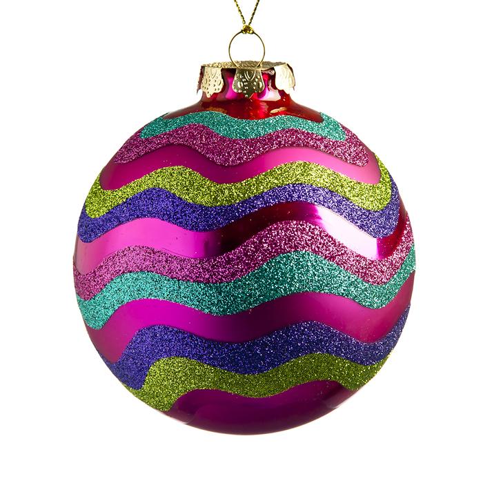 Новогоднее подвесное украшение Its a Happy Day Новогодний, цвет: фуксия, бирюзово-голубой, фиолетовый, диаметр 8 см66537Подвесное украшение Its a Happy Day Новогодний, выполненное из стекла, прекрасно подойдет для праздничного декора вашей ели. Оригинальное новогоднее украшение в виде шара оформлено разноцветными блестками. С помощью специальной текстильной петельки его можно повесить в любом понравившемся вам месте. Но удачнее всего такая игрушка будет смотреться на праздничной елке. Елочная игрушка - символ Нового года и Рождества. Она несет в себе волшебство и красоту праздника. Создайте в своем доме атмосферу веселья и радости, украшая новогоднюю елку нарядными игрушками, которые будут из года в год накапливать теплоту воспоминаний.