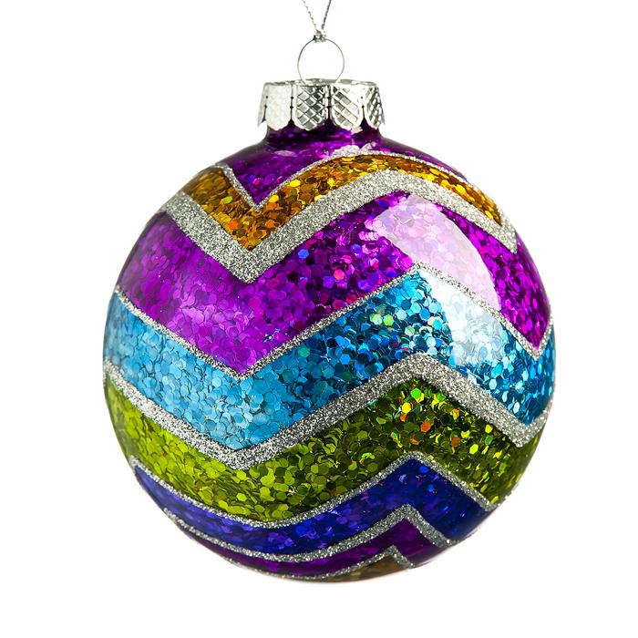 Новогоднее подвесное украшение Its a Happy Day Зигзаг, диаметр 8 см66548Подвесное украшение Its a Happy Day Зигзаг, выполненное из стекла, прекрасно подойдет для праздничного декора вашей ели. Оригинальное новогоднее украшение в виде шара оформлено разноцветными блестками. С помощью специальной текстильной петельки его можно повесить в любом понравившемся вам месте. Но удачнее всего такая игрушка будет смотреться на праздничной елке. Елочная игрушка - символ Нового года и Рождества. Она несет в себе волшебство и красоту праздника. Создайте в своем доме атмосферу веселья и радости, украшая новогоднюю елку нарядными игрушками, которые будут из года в год накапливать теплоту воспоминаний.