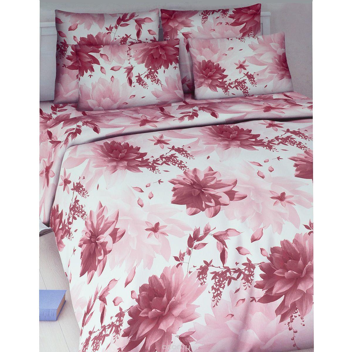 Комплект белья Василиса Лунный цветок, 1,5-спальный, наволочки 70х70, цвет: розовый, белый